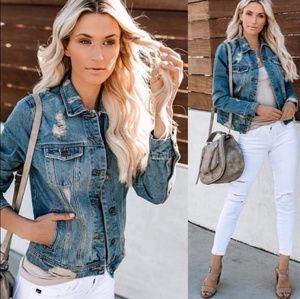 Womens denim distressed jeans jacket